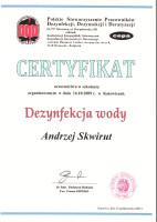 certyfikat dezynfekcja wody