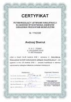 certyfikat odkażanie