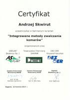 certyfikat metody zwalczania komarów